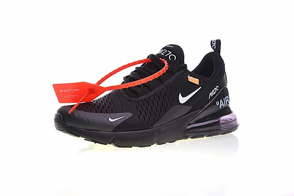 Off White X Nike Air Max 270 Ow Black White Women Men Running Shoes Nike Air Max Running Shoes For Men Nike Air Max White