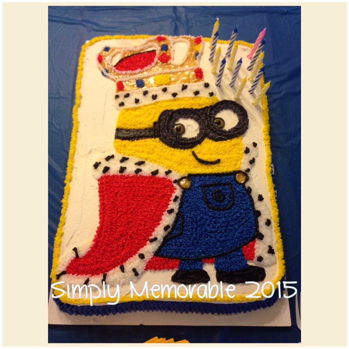 King Bob minion birthday cake 18x13 Handmade by me for my