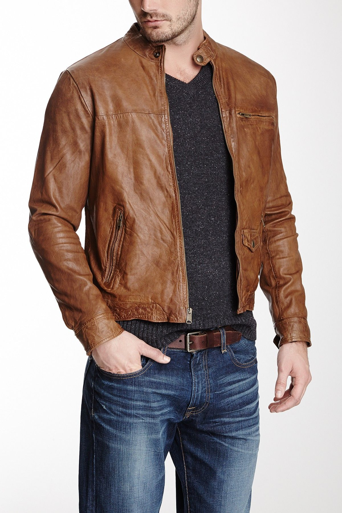 Lucky Brand Salt Slats Leather Moto Jacket Leather