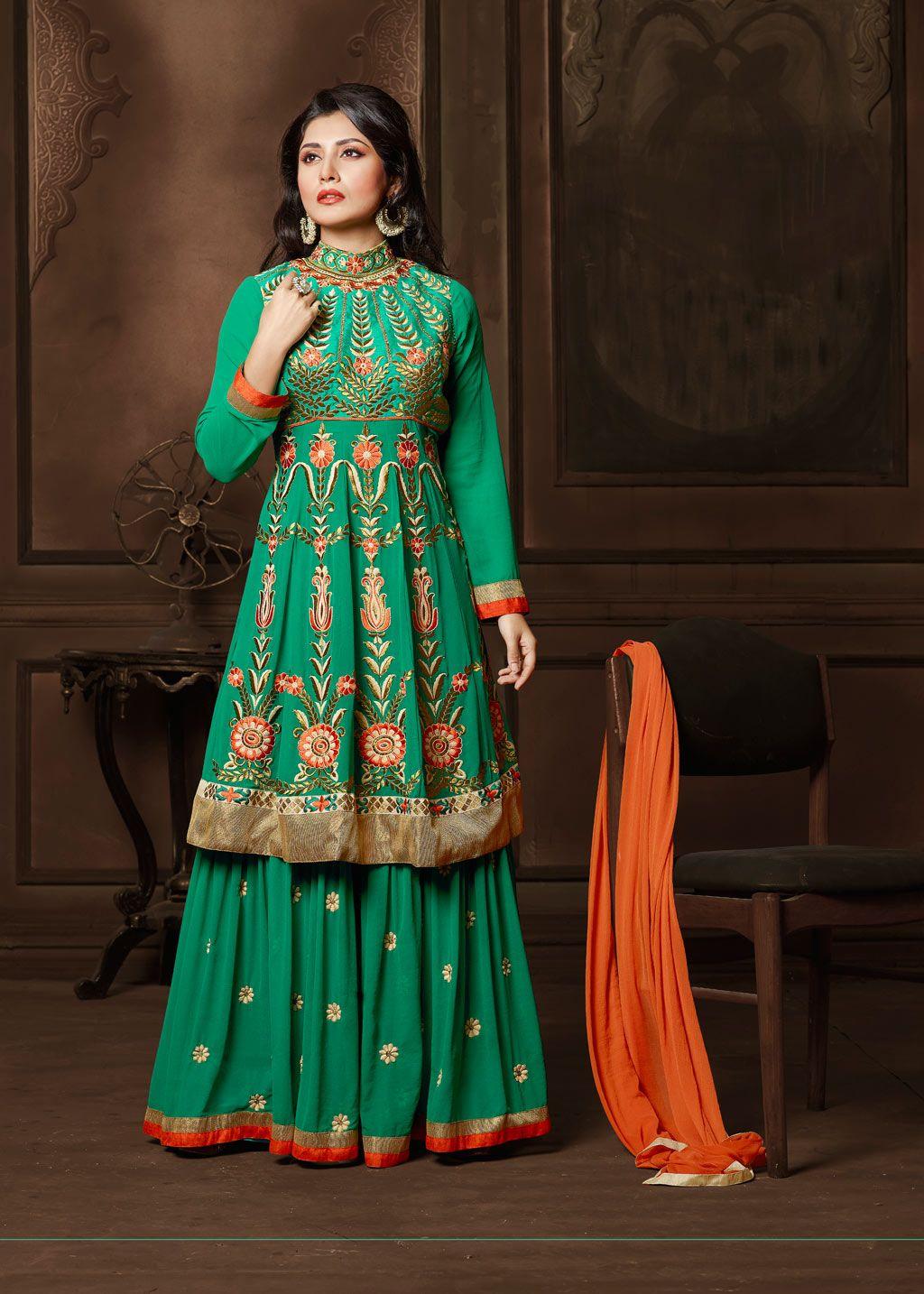 9054316e9a Rimi Sen Green Faux Georgette Sharara Style Suit 70678 | Sharara ...