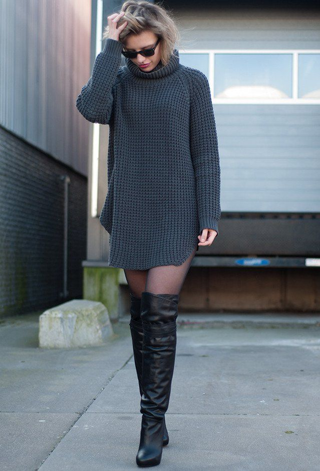 Casual-chic Outfit with Over-Knee Boots! I wish lol