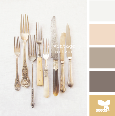 Very pretty (basically) neutral color palette based on vintage silver. None of the colors really stand out, but their contrasts of light to dark allows the hues to work well together. #metallic