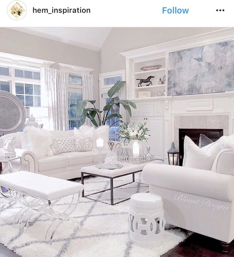 All white living room inspiration IG @hem_inspiration | Home Inspo ...