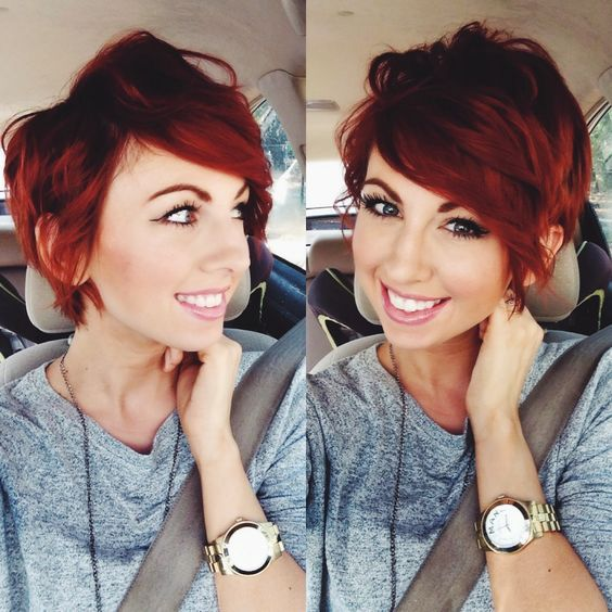Great color, style and cut. Long asymmetric red messy curled textured pixie