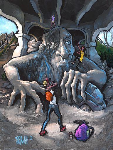 """Fremont Troll - Seattle"" Original painting on hardwood panel"