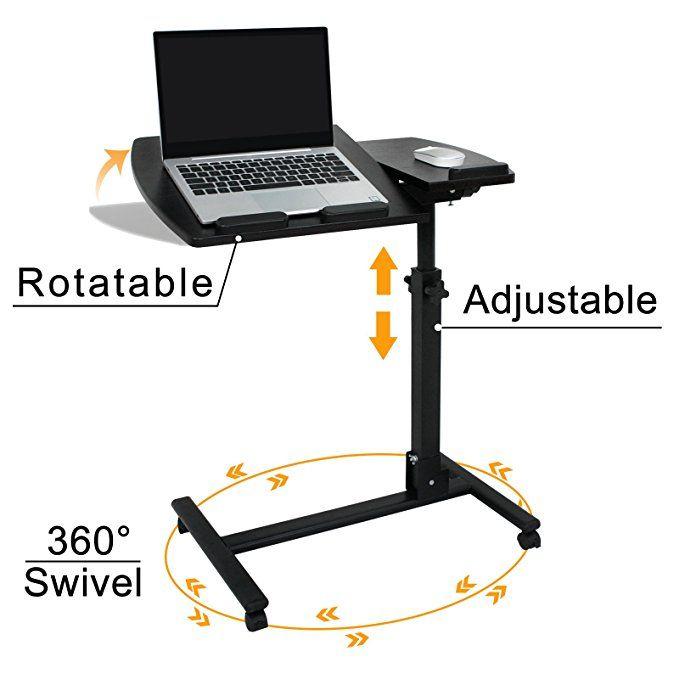 Super Deal Angle Height Adjustable Rolling Table Desk Laptop Notebook Stand Tiltable Tabletop Desk Sofa Bed Side Table Hospital Desk Rolling Table Table Desk