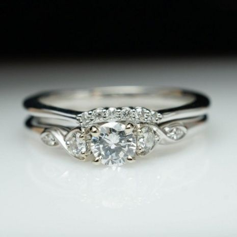 Vintage Antique Style Diamond Engagement Ring Wedding Band Set In White Gold