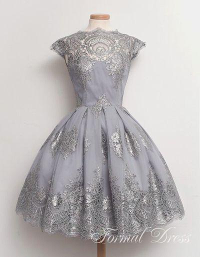 2b69095f36d prom dress • Retro Ball Gown Short Lace Prom Dresses
