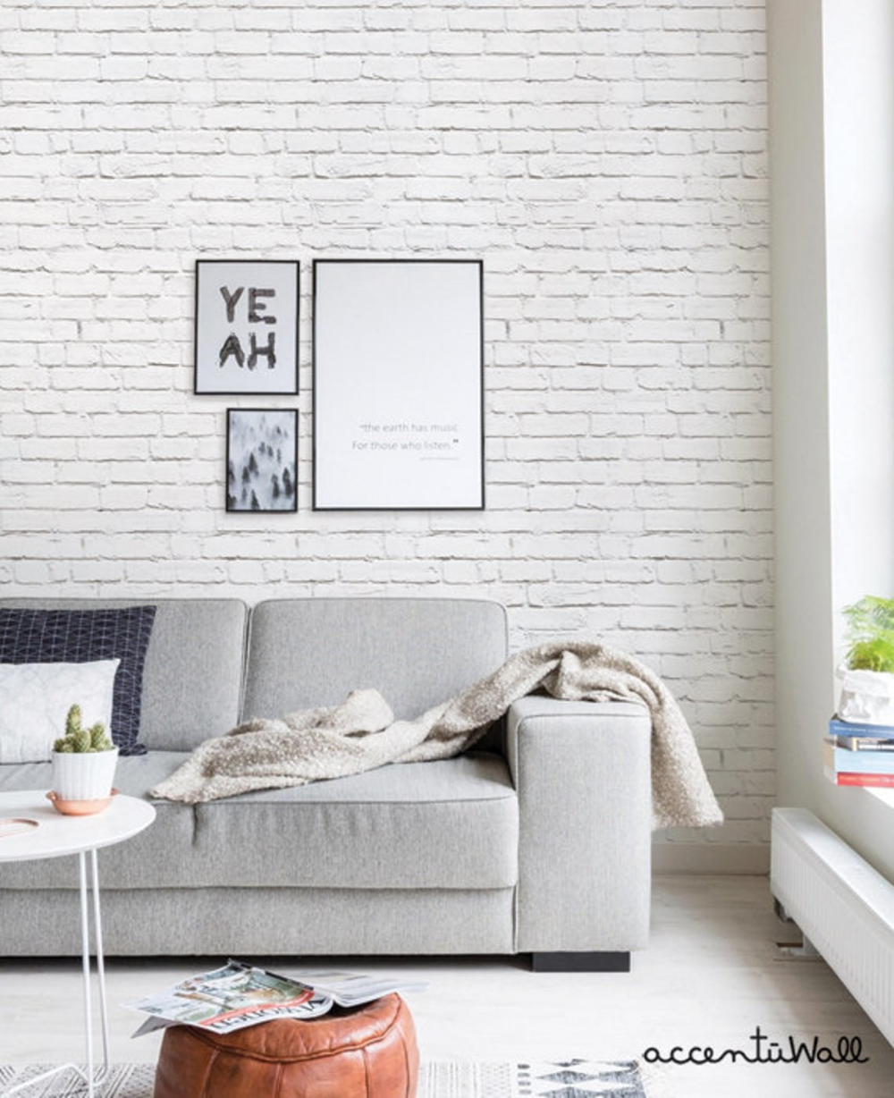 Removable Wallpaper White Brick Modern Clean Look Self Etsy In 2020 Brick Wallpaper Living Room Brick Wall Living Room Wallpaper Living Room