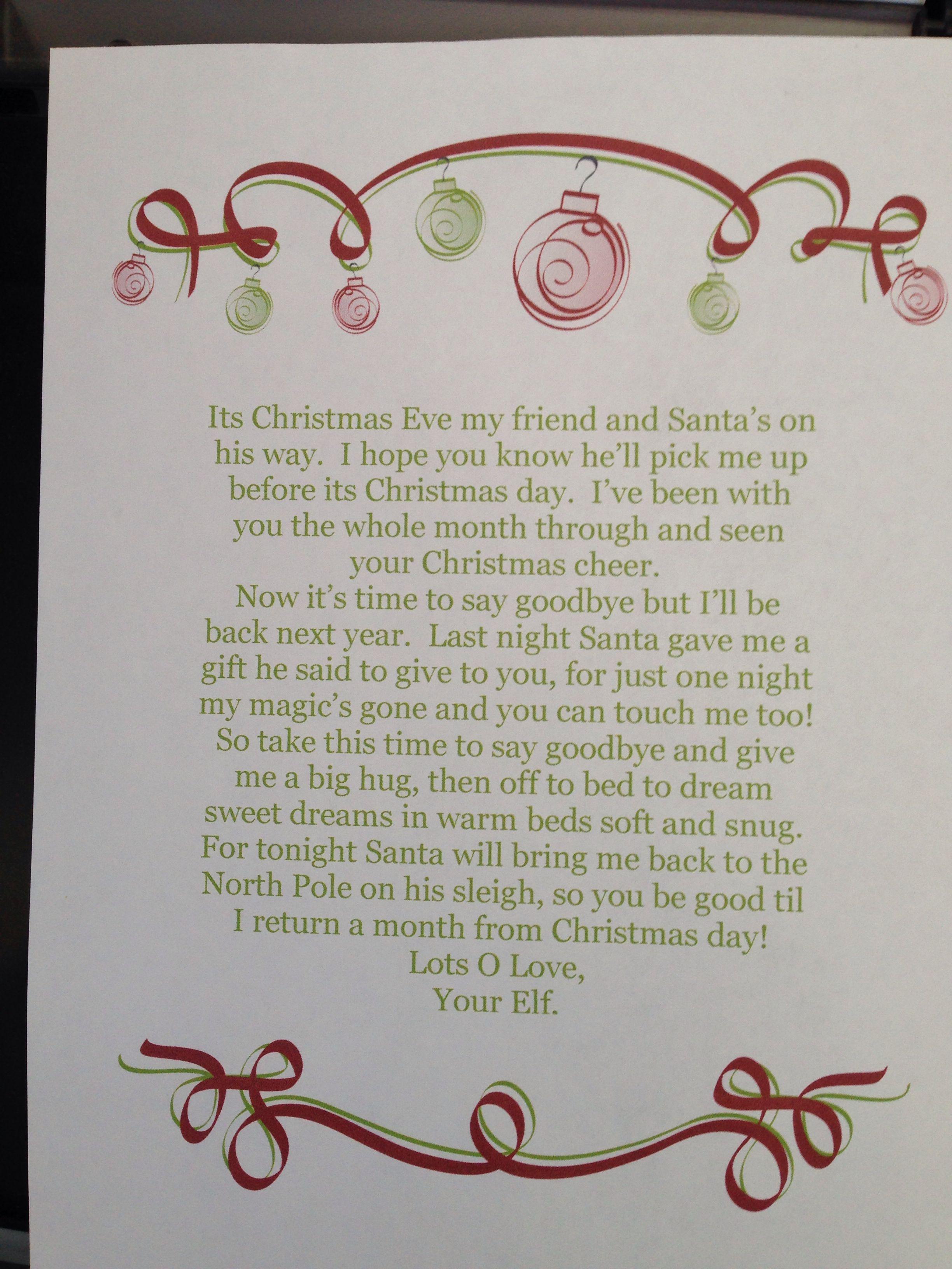 Stanleys Goodbye Letter  Stanley Elf On The Shelf