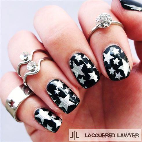 Shining Star Star Nail Art White Nail Designs Star Nail Designs
