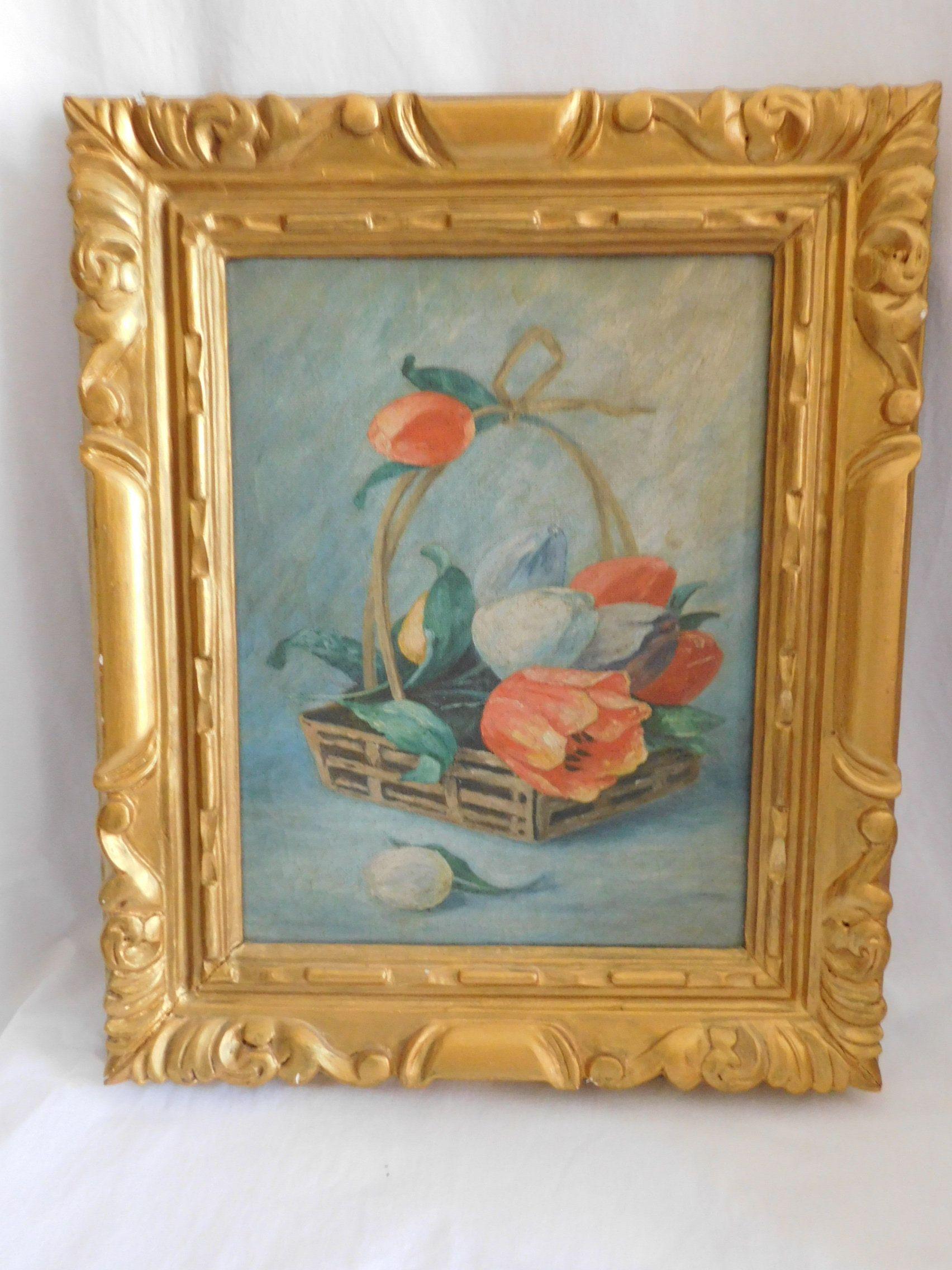 Ancienne huile sur toile nature morte au tulipes dans un panier école espagnole | Peinture ...