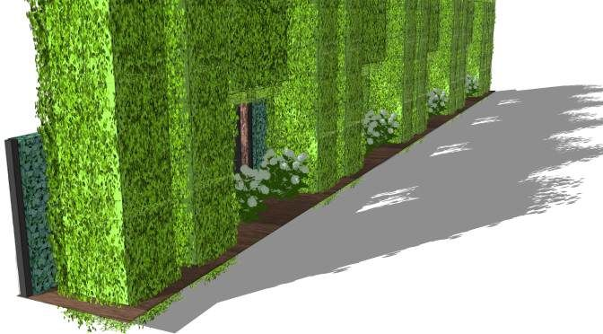 Great Visual Protection HPL, Hedge On Running Meter, Trellising Trees And Column