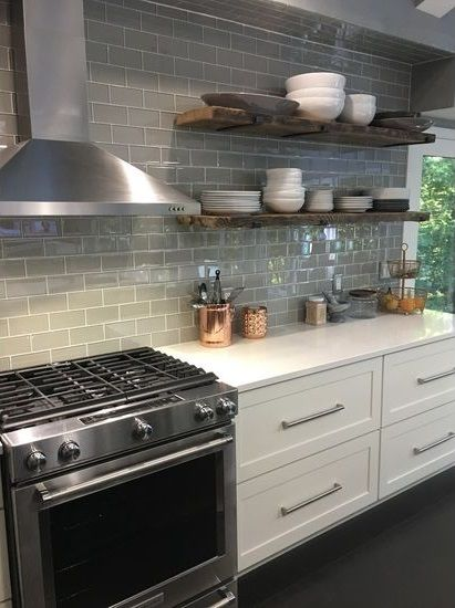 Rocky Point Tile A Light Gray That Is Neutral And Easy To Coordinate With Other Colours This Trendy Kitchen Backsplash Grey Subway Tile Kitchen Kitchen Redo