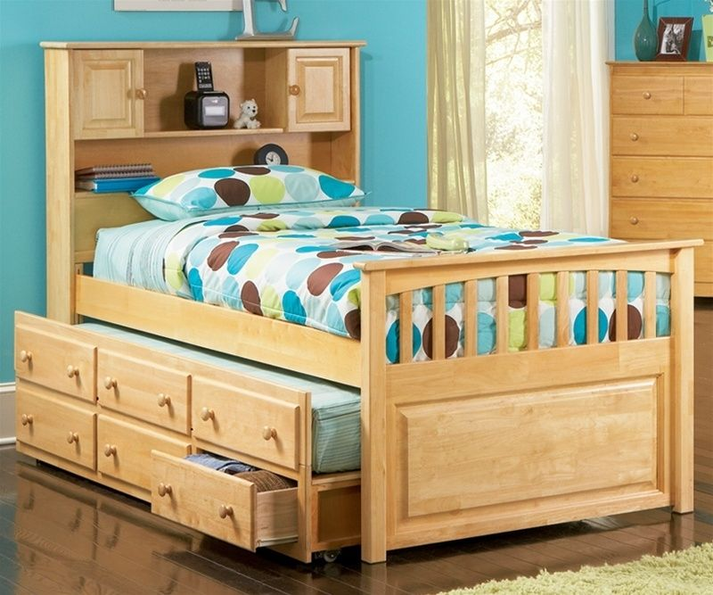Paxton Bookcase Captains Trundle Bed Natural Maple Bedroom Twin