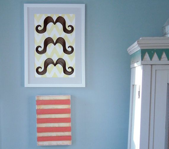 mustache & chevron poster, three quilled Ombré mustaches on a chevron pattern print, chevron in white and soft yellow, Paper art print on Etsy, $20.00