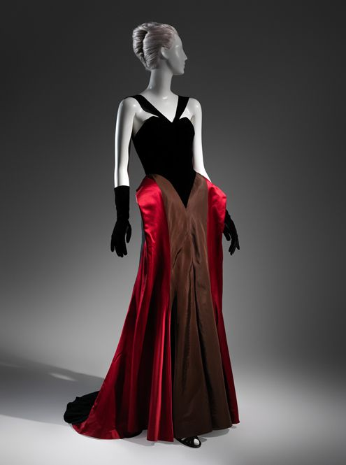 Charles James Evening Dress, 1946, Black silk-rayon velvet, red silk satin, brown silk faille, black silk crepe. The Metropolitan Museum of Art, New York, Brooklyn Museum Costume Collection at The Metropolitan Museum of Art, Gift of the Brooklyn Museum, 2009; Gift of Arturo and Paul Peralta-Ramos, 1954.