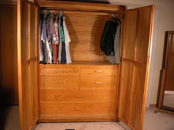 Closet Armoire   Or Custom Wardrobe Cabinet An Oak And Ash Custom Armoire  Wardrobe .