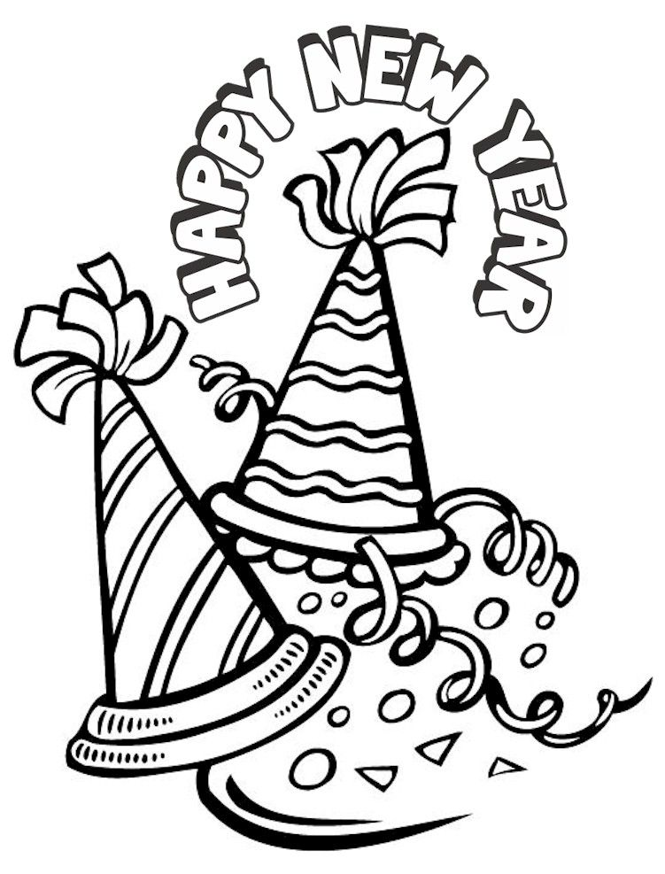 New year's coloring pages happy new year coloring printable New Year's Eve Bulletin Board Ideas New Year's Eve Black and White New Year's Eve 2015