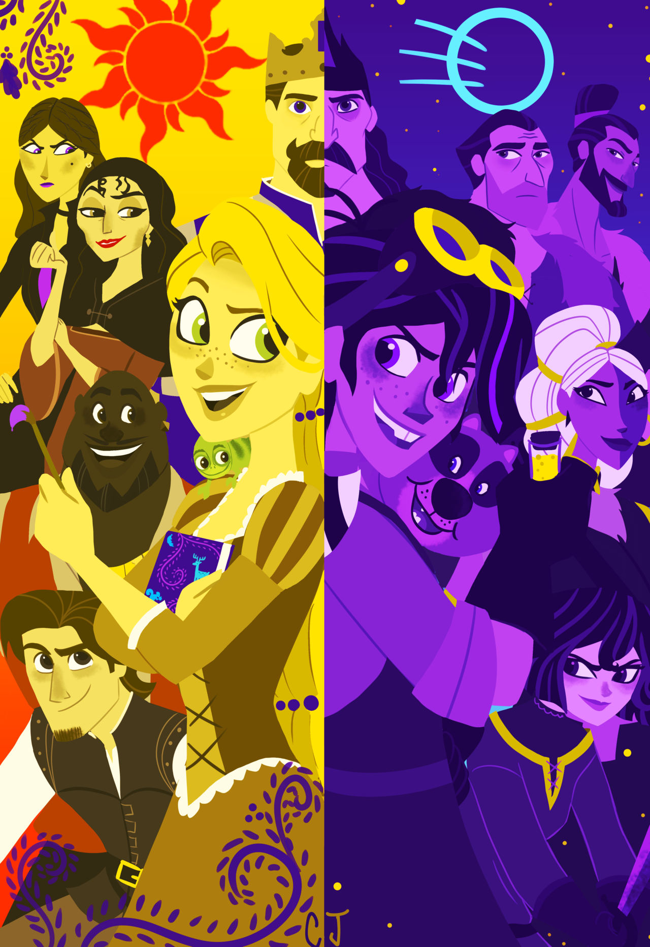 More Day Vs Night Imagery For An Updated Version Of This Piece Sadly I Could Not Find Room To Squeeze Max And O Disney Tangled Tangled Series Disney Rapunzel