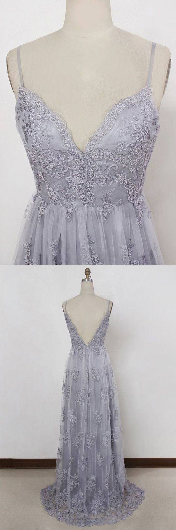 grey spaghetti straps prom dress applique backless evening