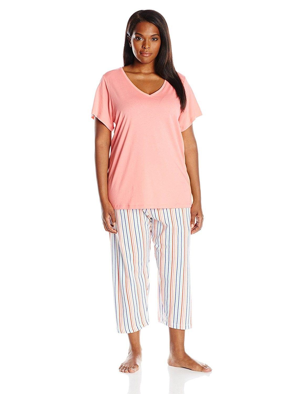 8899d8031379 Women s Plus Size Pajama Set Pattern Cotton Capri with Solid Short ...