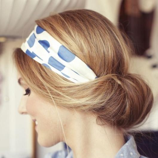 low bun with a headband