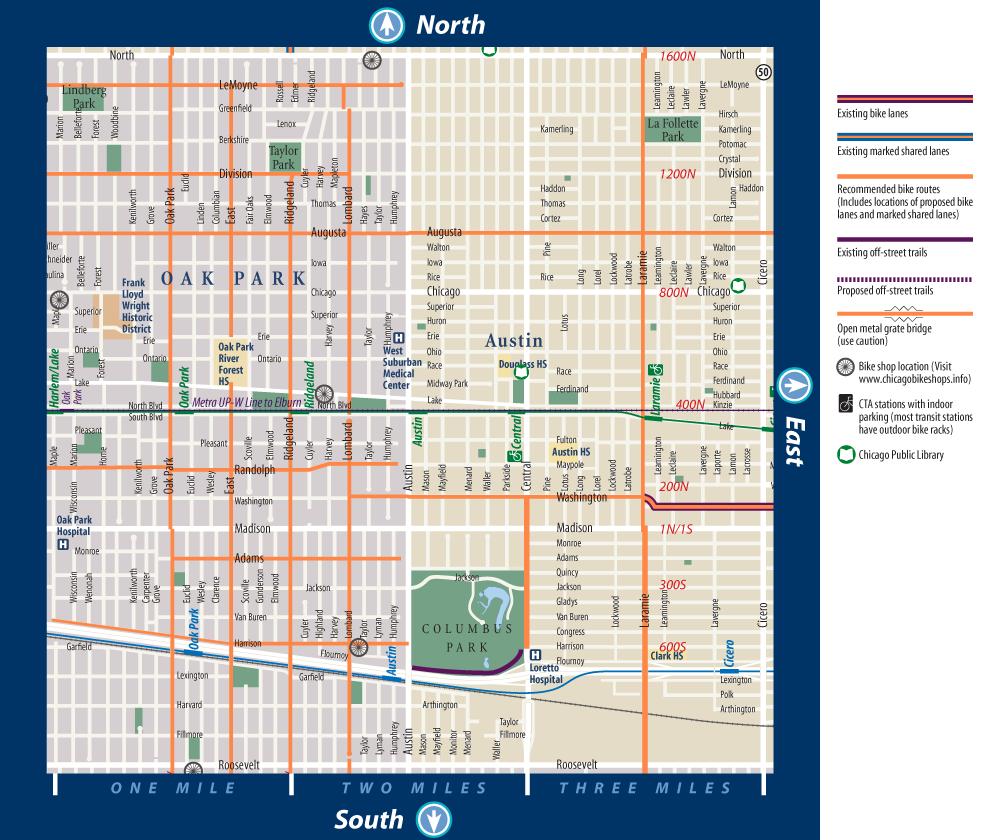 Oak Park Chicago Map.Oak Park Biking Map Discover Oak Park Il Pinterest Oak Park