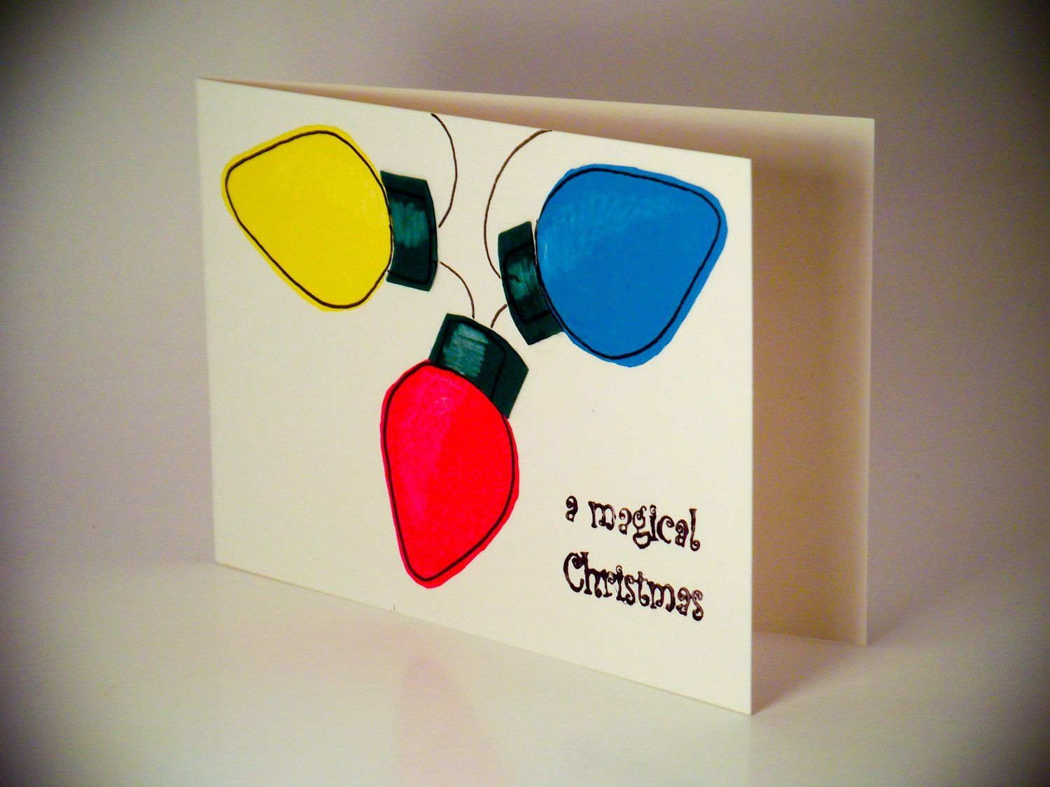 Handmade Christmas Greeting Cards Christmas lights 6 Pack. £6.00, via Etsy.