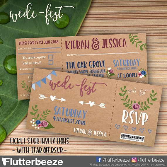 Wedding festival ticket stub style invitations. With detachable RSVP