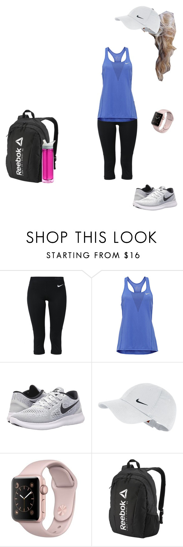 """""""Gym workout today"""" by nycityprincess ❤ liked on Polyvore featuring NIKE, Reebok and CamelBak"""