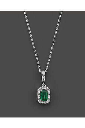 Schmuck Jewelry Pear Cut Green Emerald 18K White Gp CZ Pendant Necklace Chain