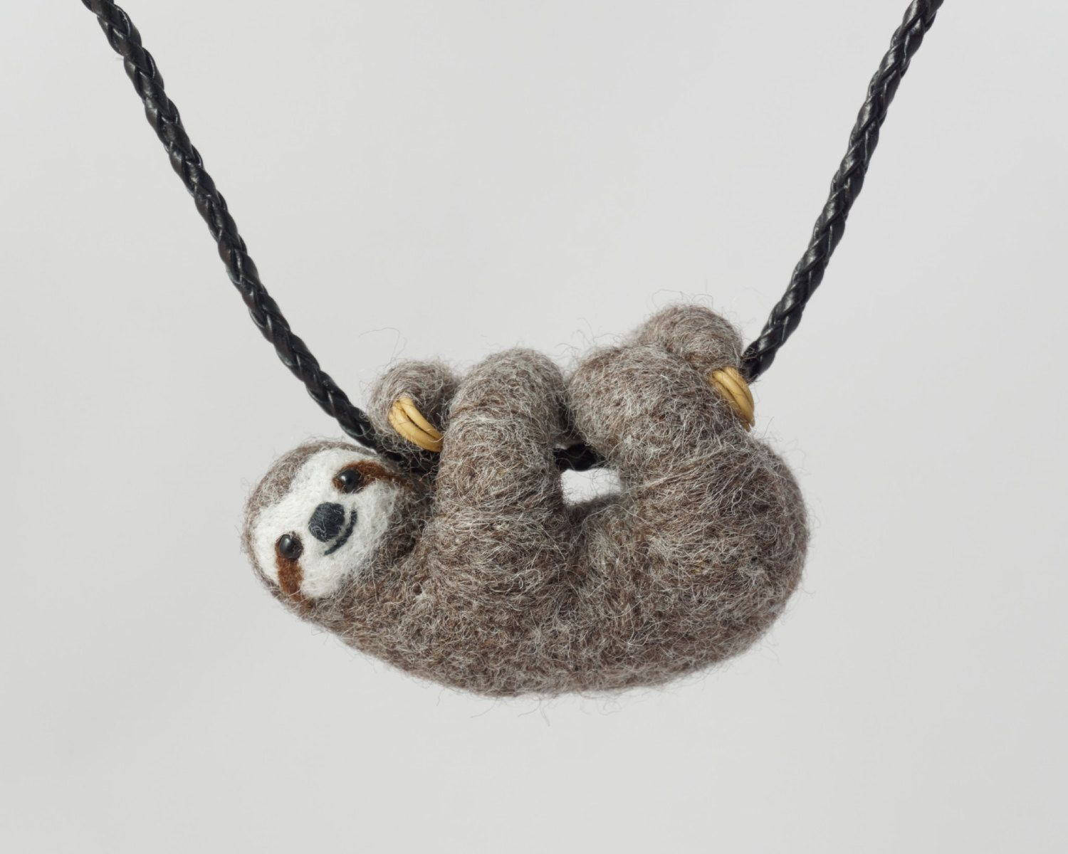 sculpted silver hanging on porcelain sterling pin necklace sloth ceramic sleepy pendant handmade