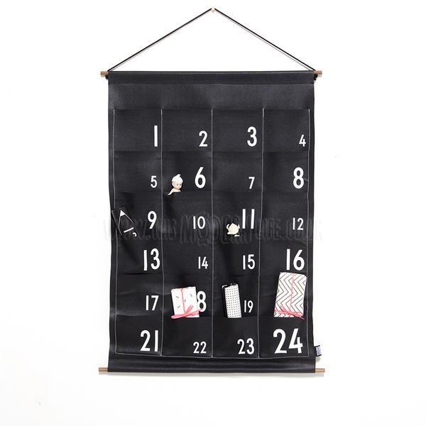 Reusable Christmas Advent Calendar  Hanging / Monochrome Advent