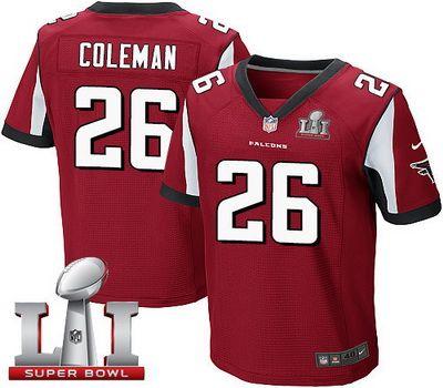Nike Falcons #26 Tevin Coleman Red Team Color Super Bowl LI 51 Men's Stitched NFL Elite Jersey
