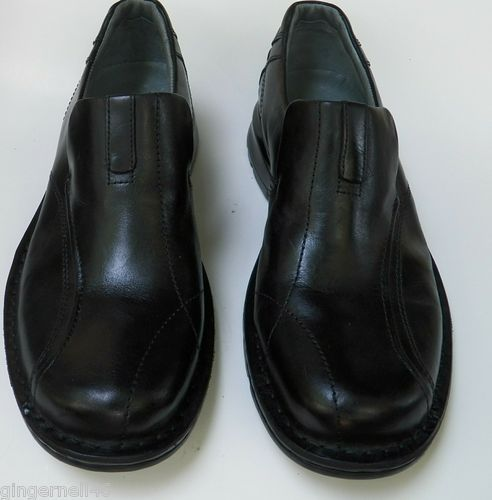 MENS CLARKS BLACK SLIP ON CASUAL SHOES SIZE 10