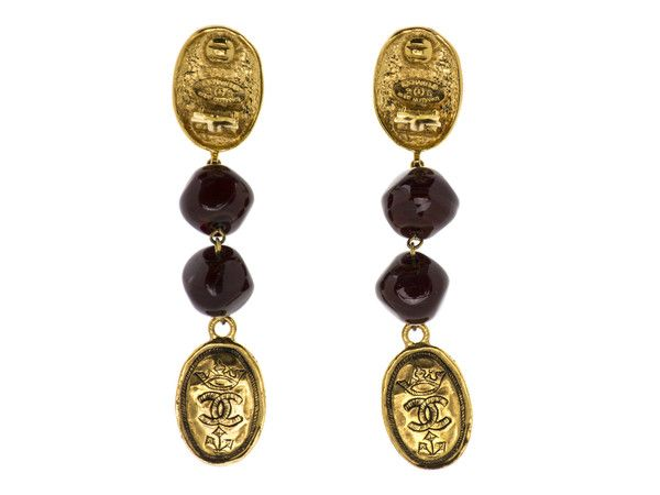 932aa4128c55d0 Chanel Vintage CC Logo Crown Gripoix Earrings are a fun statement piece!  These earrings are featured in gold-tone hardware with interlocking 'CC'  detail and ...