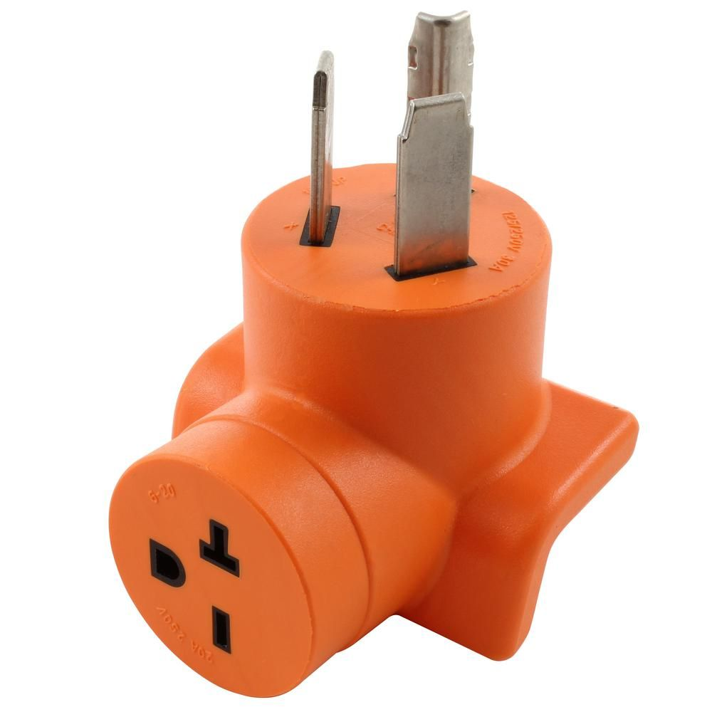Ac Works 30 Amp 3 Prong 10 30p Dryer Plug To 6 20r 20 Amp 250 Volt Hvac Power Tools Adapter Orange Dryer Plug Plugs Dryer Outlet