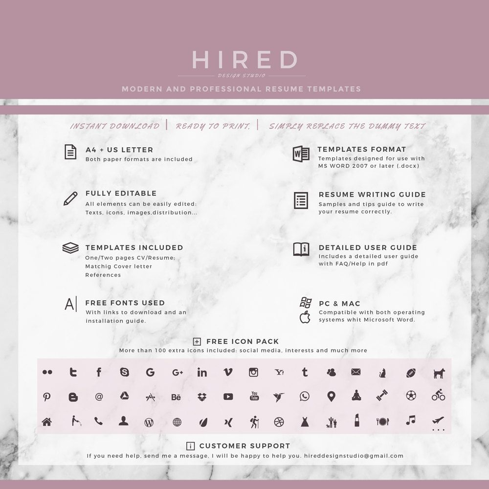 Creative CV / Resume Template, Modern CV Templates For Word; CV / Resume + Cover  Letter + Icon Set + Tips   Instant Download Resume Template