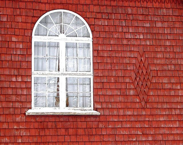 Windos Of An Old Church In Sweden Radiant Red