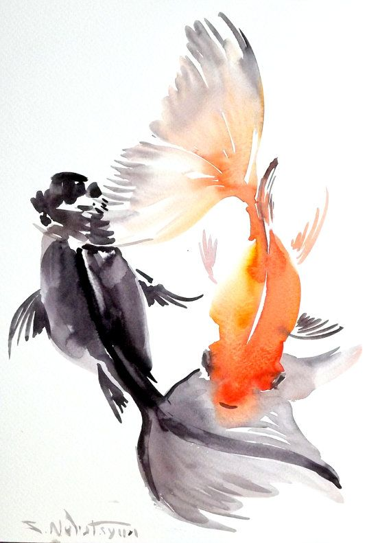 Goldfish Original Watercolor Painting 12 X 9 In Fish Painting