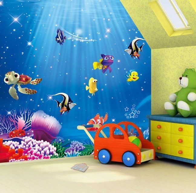 Finding nemo finding dory cartoon wallpaper kids wallpaper for Cartoon mural wallpaper