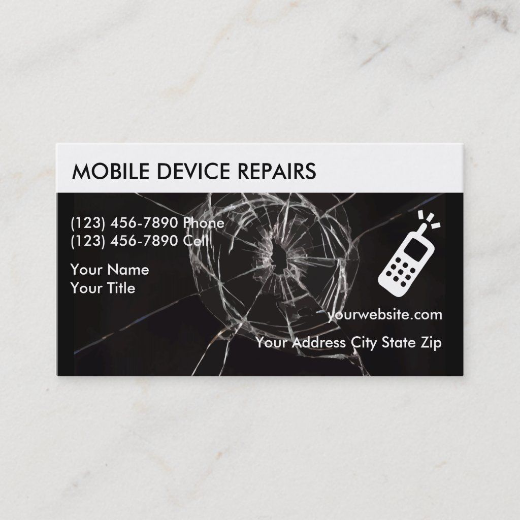 Cellphone Repair Business Cards Zazzle Com Visiting Card Design Business Card Template Business Cards