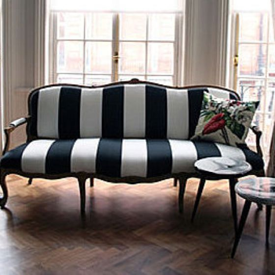 Love this black & white striped sofa. | For the Home ...