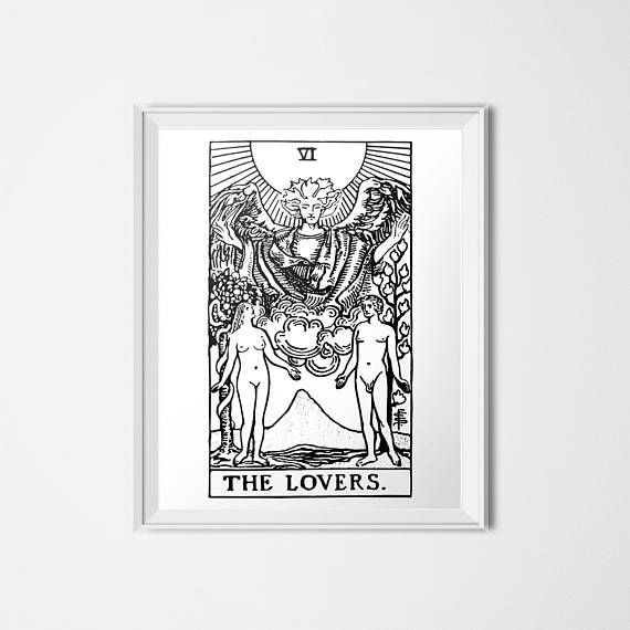 The lovers print tarot card poster rider waite couple wedding art mystic decor black white minimalist decor by olaholahola on etsy