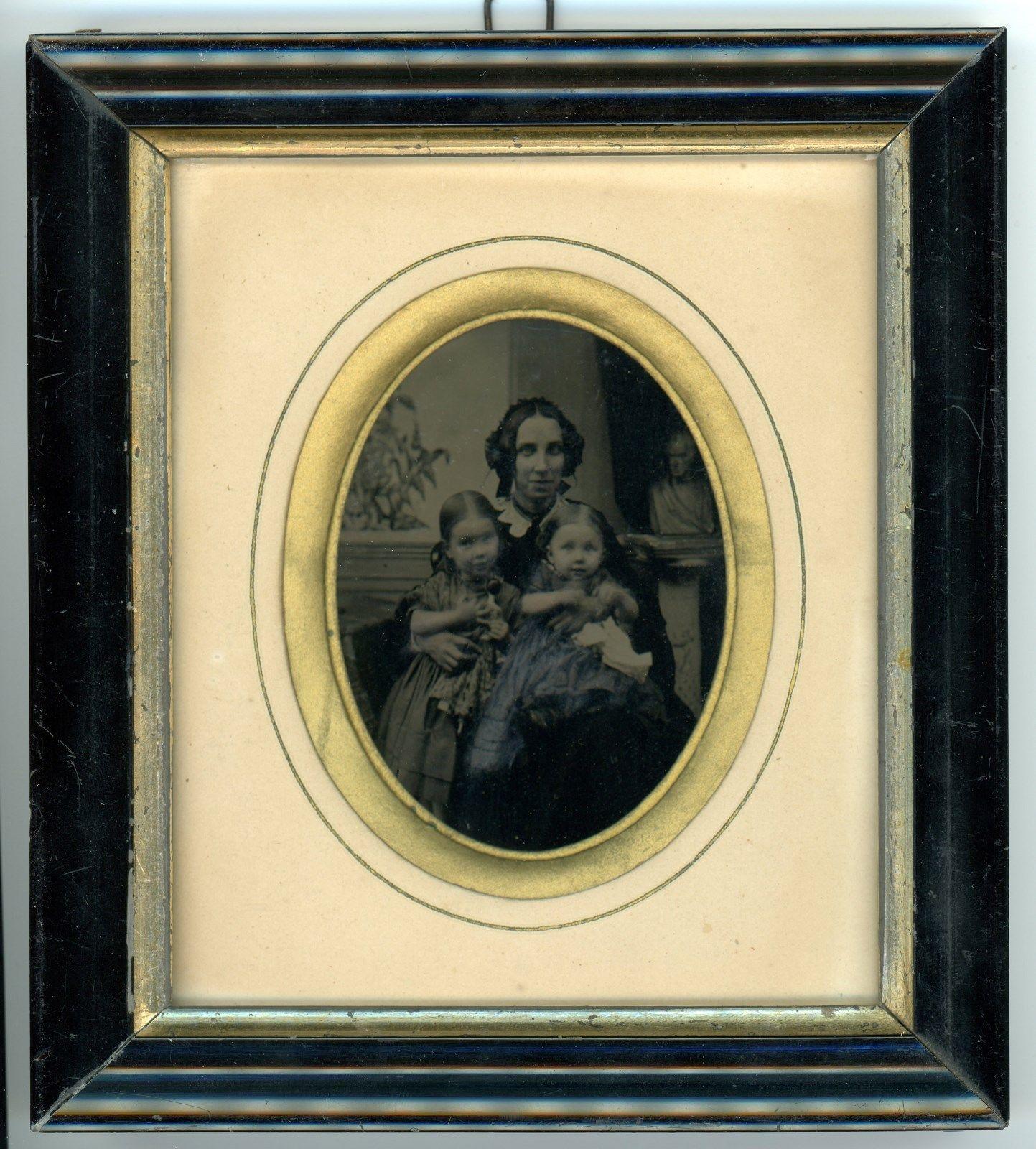 Framed German Ambrotype of Tinted Mother Children not Daguerreotype   eBay
