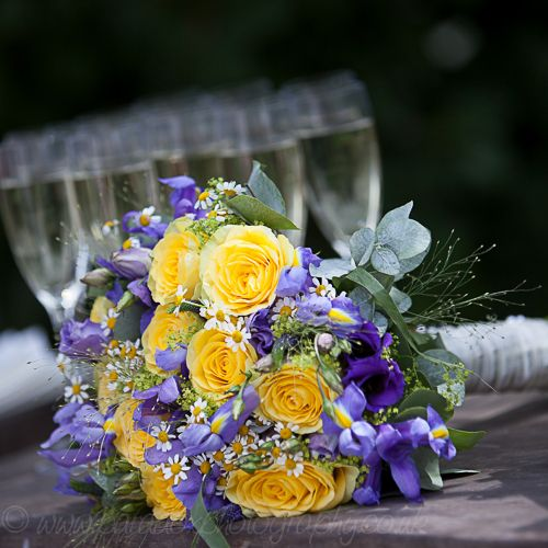 Wedding Flowers Yellow Roses: Iris And Yellow Rose Bouquet