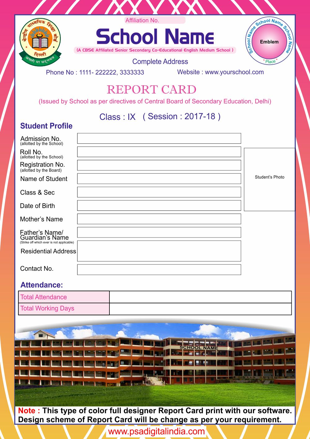 Play School Report Card Design Yaser Vtngcf Pertaining To High School Student Report Card Templa Report Card Template School Report Card High School Students