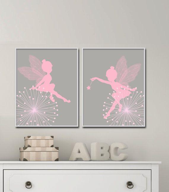 Fairy Nursery Wall Print, Baby Girl Pink And Gray Fairy