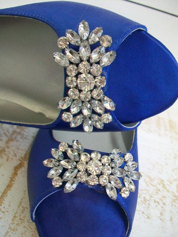 Blue Wedding Shoes 1/2 Inch Flat Peep Toe Crystal By Parisxox, $154.00